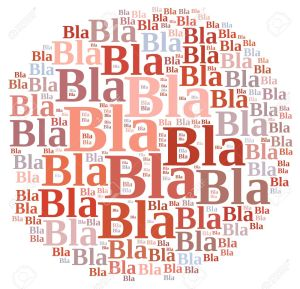 Illustration with word cloud about Bla bla bla.